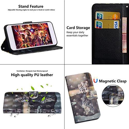 HMTECH Huawei Y3 2017 Hülle Luxus 3D Süßes Cat Tiger Flip Standfunktion Karten Slot Magnetverschluß Brieftasche Taschen Schalen Handy Ledercase für Huawei Y3 2017,Cat Tiger - 4