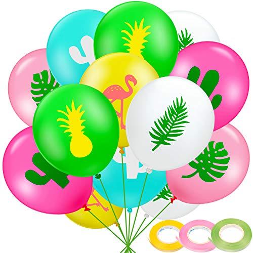 Gejoy 60 Stücke Hawaii Party Luftballons, Flamingo Ananas Tropische Blätter Kaktus Latex Luftballons mit 3 Rollen Band für Baby Dusche Geburtstag Party Dekoration, 12 Zoll