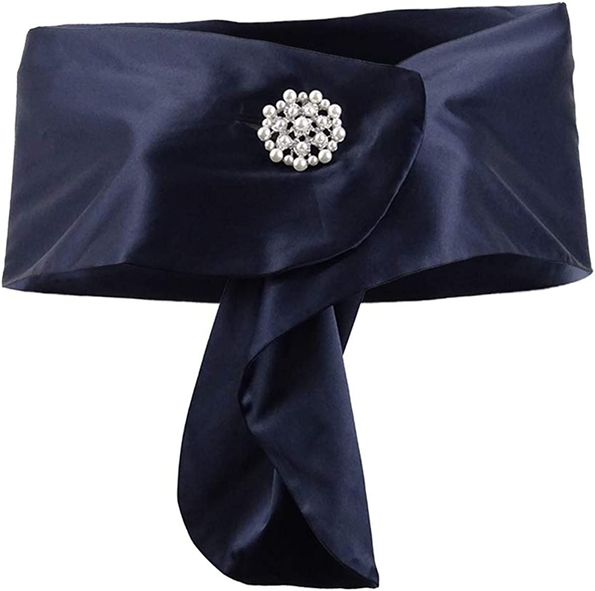 ADRIANNA PAPELL Womens Navy Satin Cape With Brooch Evening Scarf S