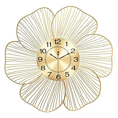 JSBVM Reloj de Pared con diseño de Flor de Metal Dorado, Reloj de Pared Moderno con Movimiento Silencioso, 50 cm/60cm de diámetro,60cm