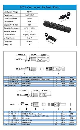 PowMr 48PCS Solar connectors - M-C-4 Male/Female IP67 Solar Connectors(24 Pairs Solar connectors)