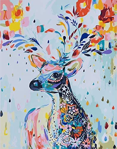 YXQSED [Frameless] DIY Oil Painting, Paint by Number Home Decor Wall Pic Value Gift-Painted Deer 12x16 inch