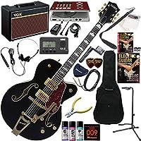 GRETSCH Electromatic エレキギター 初心者 入門 パラレル・トーンバー構造のホロー・ボディモデル ギターの練習が楽しくなるCDトレーナー(エフェクターも内蔵)と人気のギターアンプVOX Pathfinder10が入った強力21点セット G5420TG LTD/BLK(ブラック)