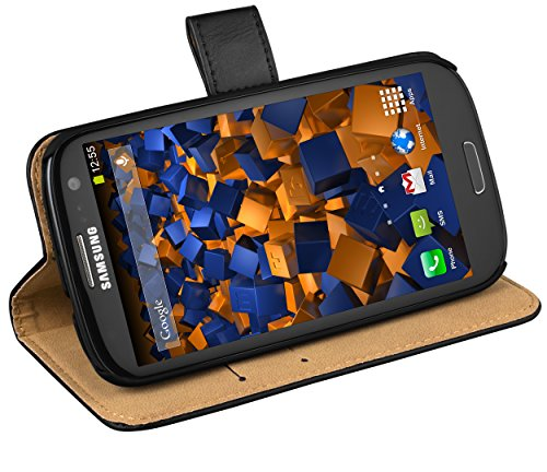 mumbi Echt Leder Bookstyle Hülle kompatibel mit Samsung Galaxy S3 / S3 Neo Hülle Leder Tasche Hülle Wallet, schwarz