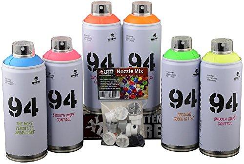 Montana Colors MTN Bombolette spray di vernice colorata fluorescente, 6x 400 ml