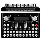 Mezclador de audio USB, Tarjeta de sonido profesional externa para juegos en vivo, Tarjeta de sonido portátil para karaoke - Dispositivo cambiador de voz múltiples efectos de sonido divertidos(Negro)