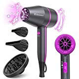 Ribivaul Ionic Hair Dryer Women, Travel Hairdryer with Diffuser for Curly Hair, Professional Blow Dryer Powerful with 3 Heat 2 Speed Settings, Cool Shot, Fast Dry for Home Salon
