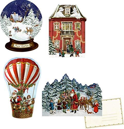 Mini-Adventskalender-Sortiment – Nostalgische Weihnachten: 4 Motive x 6 Ex.
