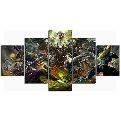 baixiangguo Hearth Stone Heroes of Warcraft Game Poster Quadri Moderni Camera da Letto 5 Pezzi Stampa su Tela-Appendibile-Full Frame-più Oggetti-150Cm X 80Cm