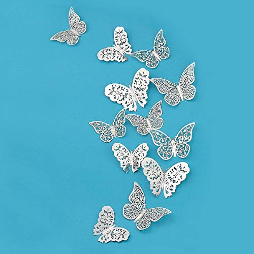Silver Butterfly Decorations,3D Wall Decals,Wall Metallic Art Sticker,DIY/Man-Made/Removable/Decorative Paper Murals for Home,Livingroom,Kids/Girls Bedroom,Nursey,Party Décor.(36 PCS)