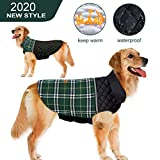 Dog Jacket Dog Clothes Warm Dog Coat S,M,L,XL,2XL Winter Dog Vest Waterproof Dog Sweater Reflective for Small Medium Large Dogs (L(Back:17.7'',Chest:25.6-29.5'',Neck:17.7-21.6''), Plaid-Green)