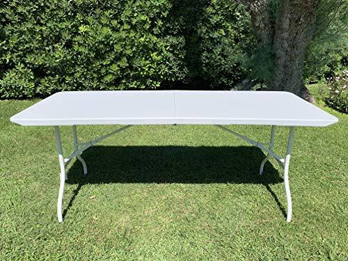 MLI Mesa plegable de jardín blanca con patas blancas 180 x 70 x 74 perfecta como mesa de camping GDZ1803 de Buffet de cocina mesa exterior plegable con maletín con asa