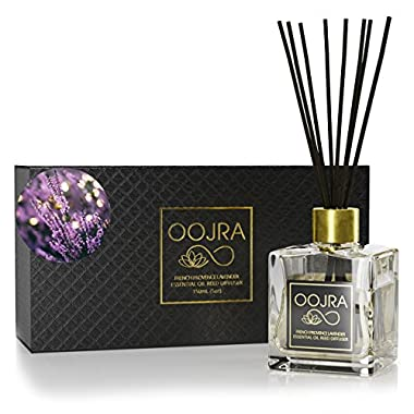 OOJRA French Provence Lavender Essential Oil Reed Diffuser Gift Set, Glass Bottle, Reed Sticks, Natural Scented Long Lasting Fragrance Oil (3+ Months 5 oz) for Aromatherapy and Air Freshener