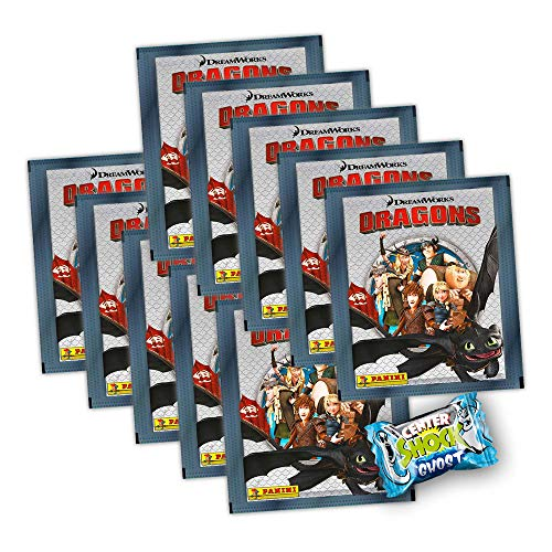 Dragons Die Chroniken Panini Sammelsticker - 10 Booster Tütchen + Center Shock 50 Sticker