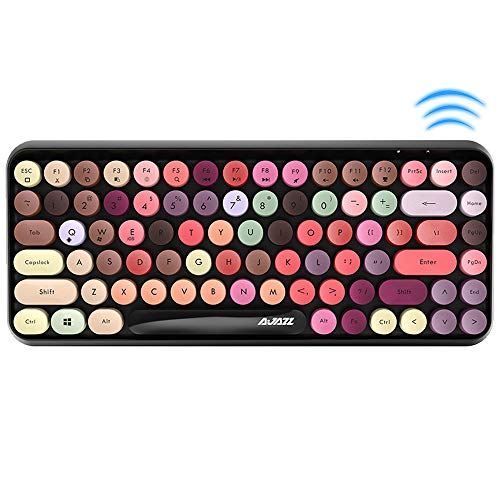FELiCON Bluetooth Tastatur 2,4 GHz Kabellose, Kompakte, Leichte Tastatur im Retro-Stil, Matte Textur, 84 Tasten, Kompatibel mit Android und Anderen Geräten,Geeignet für Heim- und Bürotastaturen (bunt)
