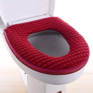 BANNBA Bathroom Toilet Seat Cover Set Winter Warm Thick and Soft Toilet Cover Seat Lid Home Decoration Toilet Mat Seat,2 PCS Red
