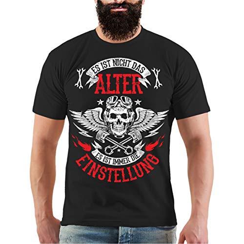Männer und Herren T-Shirt Biker Es ist Nicht das Alter Es ist die Einstellung (mit Rückendruck) Größe S - 8XL