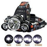 Ammiy Boruit 6000 Lumen Lumineux Phare Phare lampe torche 3 CREE XM-L2 T6 LED avec...