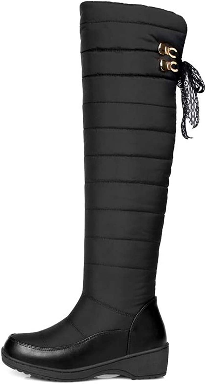 Hoxekle Winter Keep Warm Women Snow Boots Thick Fur Fashion Platform Down Winter Over The Knee Boots