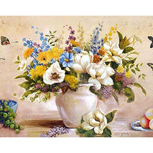 DIY Pintura por Números Flores de colores (4) Pintar por número de kit for Adultos Mayores Avanzada Niños Joven 40x50cm Sin Marco