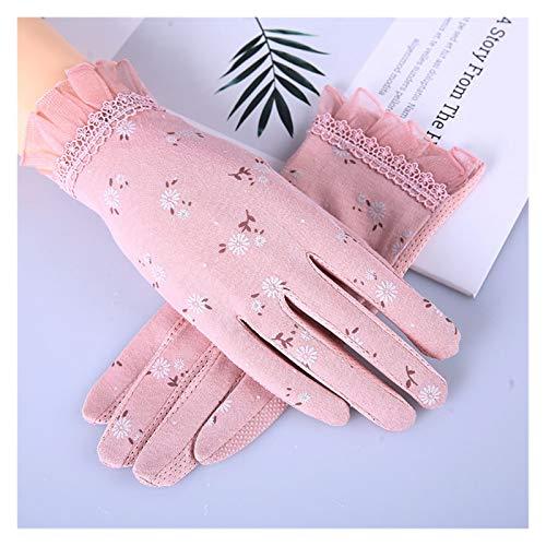 JSJJRFV Guantes de Verano Otoño Mujeres Sunscreen Guantes Resistente a la conducción Guante Guante Spring Summer Girls Thin algodón Lace Anti UV Touch Pantalla Mittens (Color : Pink)