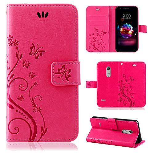 betterfon | LG K11 Hülle Flower Hülle Handytasche Schutzhülle Blumen Klapptasche Handyhülle Handy Schale für LG K10 2018 / LG K11 Pink