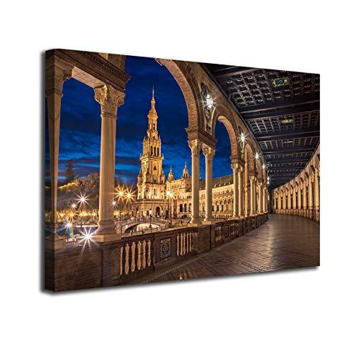 Desconocido Cuadro Lienzo Canvas Plaza España y Giralda en Sevilla Luces Noche Andalucia España – Varias Medidas - Lienzo de Tela Bastidor de Madera de 3 cm - Impresion Alta resolucion (100, 66)