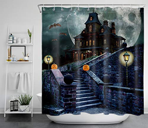 LB Spooky Halloween Gothic Shower Curtain with Black Bats Pumpkin Lanterns Castle in Moon Night Horror Shower Curtain 72x72 Inch Halloween Bathroom Decor with 12 Hooks,Waterproof Fabric