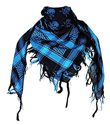 Premium Skull Pattern Shemagh Head Neck Scarf - Turquoise Blue/Black