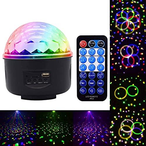 Luz de Escenario LED Bola de Discoteca giratoria activada por Sonido Luces de Fiesta Luz estroboscópica para el hogar de Navidad KTV Foco de espectáculo de Bodas de Navidad (Color: B-Bluetooth