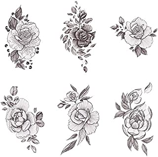Tattify Floral Temporary Tattoos - A Rose by Any Other Name (Complete Set of 12 Tattoos - 2 of each Style) - Individual Styles Available - Fashionable Temporary Tattoos