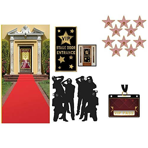 Hollywood Red Carpet Awards Ceremony Party Theme Supplies and Decorating Kit - Red Runner, Paparazzi Props, VIP Entrance Door Cover, Star Cutouts and 20 VIP PASS Stickers (Bundle of 5 Items)