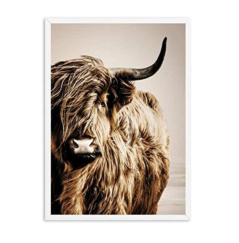 Poster leinwand malerei muralWall Kunst Leinwand Malerei Weizenpflanze Nordic Highland Cow Alpaca Poster Und Drucke Landschaft Wandbilder Für Wohnzimmer Dekor aKDFN