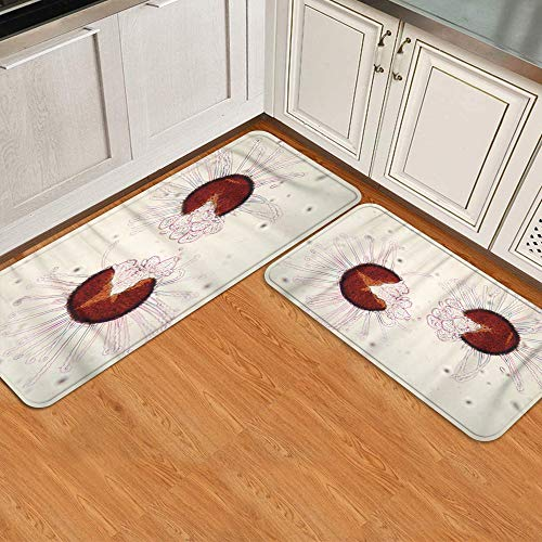 MATEKULI Anti Fatigue Kitchen Rug Sets 2 Piece,Microorganisms Sick Leaves Microscope Spores Can Remain Viable,Non-Slip Soft Doormat Runner Rugs Floor Mat Carpet Set