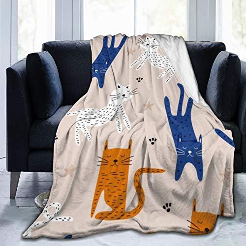 Qing_II - Coperta in pile con gatto disegnato a mano, motivo colorato, senza cuciture, con disegno infantile, in flanella, morbida, calda, 127 x 165 cm, per letto, divano e ufficio