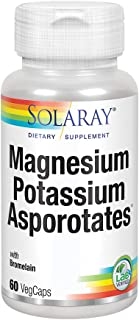 Solaray Magnesium and Potassium Asporotates w/ Bromelain | Healthy Electrolyte, Muscle, Heart & Cellular Support | 60 Servings | 60 VegCaps
