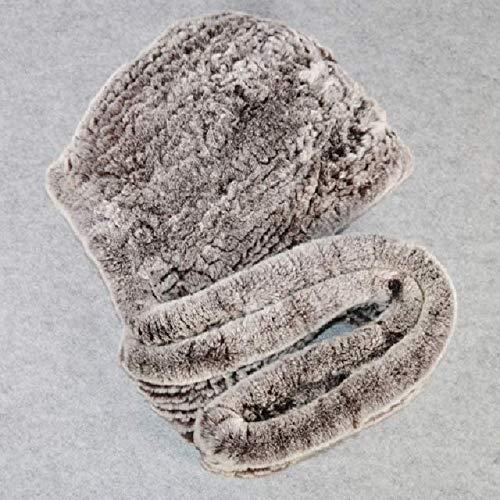 WEIYIM Winter Strick Rex Rabbit Fur Hat Schal Frauen Rex Rabbit Fur Cap Schals Qualität Natürliche Rex Rabbit Fur Poncho Hat