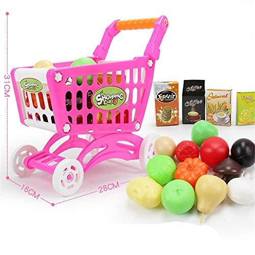 ABACUS Juguete Fancy Play Mini Juguete Supermercado Carrito de compras Carrito con frutas y verduras para niños Juguetes educativos (Color: Rosa) Desarrollar Inteligencia (Color: Rosa) TINGG