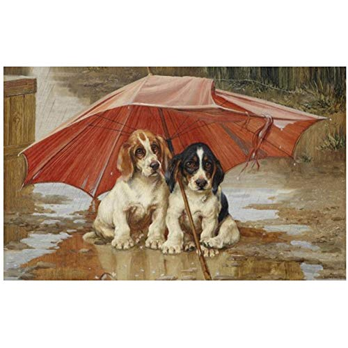 xiongda Arme Zwei Hunde unter dem schäbigen Regenschirm Malerei Drucke auf Leinwand Wandkunst dekorative Bild für Wohnzimmer Dekor-24X36 Zoll ohne Rahmen