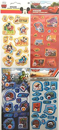 Unbekannt 4 Bögen Aufkleber mit beweglichen Teilen Stickerset mit DISNEY Mickey Mouse, Cars, Planes und MARVEL Avengers