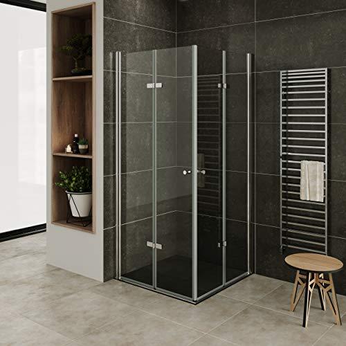 MOG Mampara de Ducha 80x80 cm altura: 180 cm con plato de ducha Cabina de ducha con Apertura de Puerta plegable 6mm Vidrio transparente de seguridad – DK99