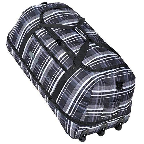 COCOONO Borsone da viaggio XXL con ruote, 100-135litri di volume, pieghevole, trolley modello STORM, Black Checker ( Grau Weiss kariert ) (Multicolore) - 15581
