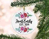 DKISEE Adorno redondo personalizado para tía, anuncio de tía, regalo para revelar embarazo, promocionado a tía, anuncio de bebé de Navidad 3.1 pulgadas