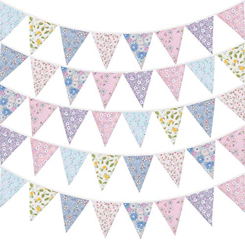 Whaline 40ft Fabric Bunting Banner Light Color Floral Vintage Bunting Flags Reusable Cotton Triangle Flag Garland Decoration with 42pcs Pennants for Garden Wedding Baby Shower Birthday Parties