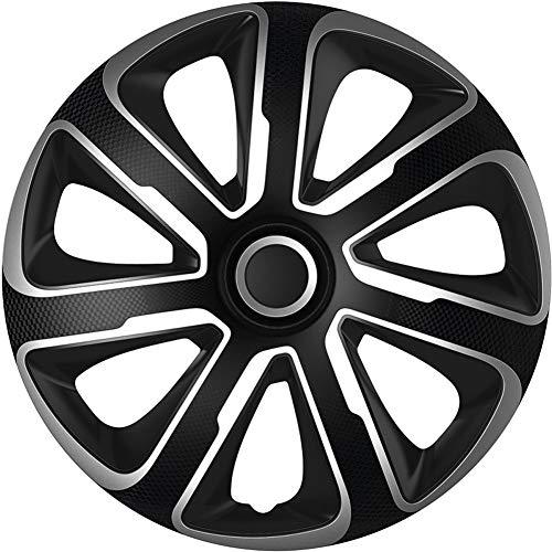 Jeu d'enjoliveurs Livorno 16-inch argent/noir look-carboné