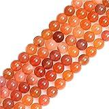 Sweet & Happy Girl's Gemstone Beads Strand Distanzhalter/Distanzhalter aus natürlichem Botswana-Achat, 4 mm, Halbedelstein, rund, für Schmuckherstellung, 38,1 cm, 8mm Orange, 8 mm