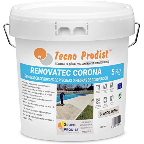 Tecno Prodist RENOVATEC CORONA-5 kg (BLANCO ARENA) Pintura para renovar bordes de piscinas o piedra de coronación-Antideslizante-Antialgas-Facil Aplicación