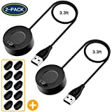YiJYi Compatible Garmin Charger with Port Protector,2-Pack Replacement USB Charging Cable Data Sync Dock Stand with Dust Plugs for Garmin Vivoactive 3/ Fenix 5 5S 5X/Instinct/Forerunner 935