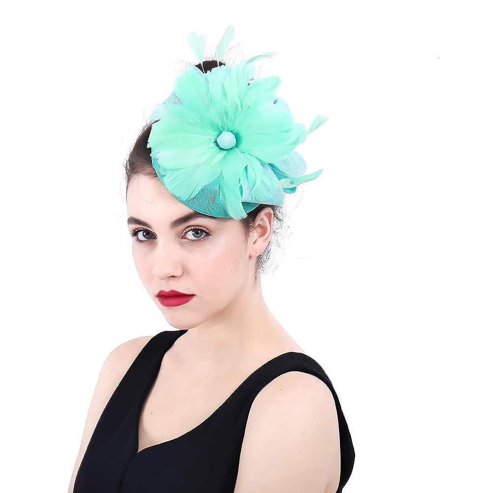 消えるロンドン障害女性の魅力的な帽子 女性のエレガントな魅惑的な帽子の羽の花の結婚式のヘアピンヘッドドレスロイヤルアスコットカクテルティーパーティー (色 : 青)