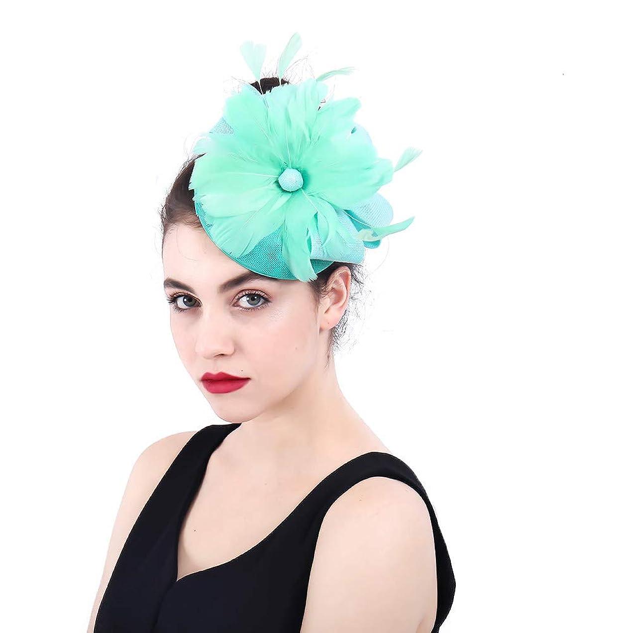 アブストラクト貫通する病的女性の魅力的な帽子 女性のエレガントな魅惑的な帽子の羽の花の結婚式のヘアピンヘッドドレスロイヤルアスコットカクテルティーパーティー (色 : 青)